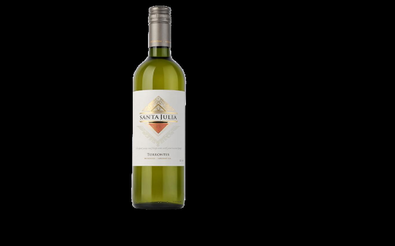 Santa Julia, vino blanco Torrontés argentino. Su acidez moderada y textura suave al paladar culminan con un distintivo aroma a melocotón y albaricoque.